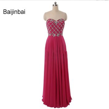 Baijinbai Charming Chiffon Sequins Beading Bridesmaid Dresses 2017 Long Special Occasion Sweetheart Wedding Guest DressesS121005