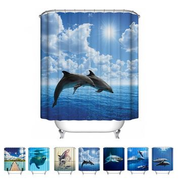 7 Types Fantastic Sea World Waterproof Shower Curtain Dolphin / Shark / Sea Lions Polyester Seascape Bathroom Curtain 2 Sizes