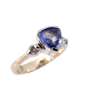Perfect Trillion Tanzanite Diamond Ring 14k Gold Duneier Signed 90s