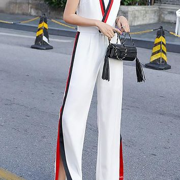 Chicloth Color-block Sleeveless Casual Paneled Jumpsuit