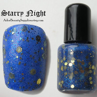 Starry Night Nail Polish 8ml Vegan Glitter by AdorBeautySupplies
