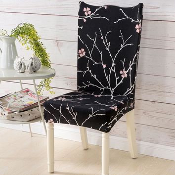 1Pc Spandex Elastic Dining Chair Cover Plaid Geometry Floral Chair Cover Party Office Computer Chair Seat Cove Home Decoration