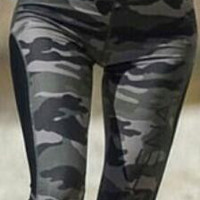Low Waist Camouflage Patchwork Long Slim Leggings