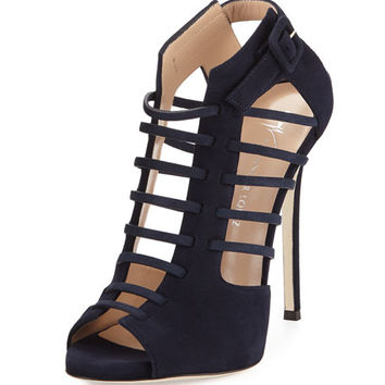Giuseppe Zanotti for Jennifer Lopez Cam Caged Suede Peep-Toe 120mm Bootie