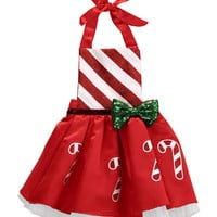 Cute Newborn Baby Girl Striped Candy Dress Red Clolor Christmas Dresses Outfits Sunsuit
