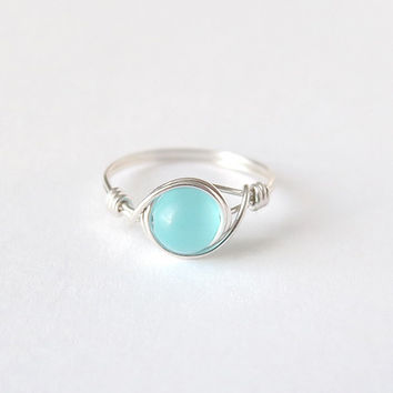 Silver Blue Chatoyance Ring
