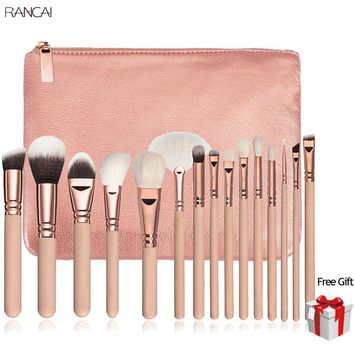 15pcs Pink Makeup Brushes Set Pincel Maquiagem Powder Eye Kabuki Brush Complete Kit Cosmetics Beauty Tools with Leather Case