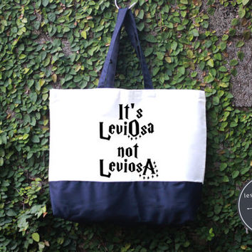 It's Leviosa not Leviosa Harry Potter Tote Bag, Handmade Bag, Harry potter Tote Bag, 100% cotton canvas, Canvas tote