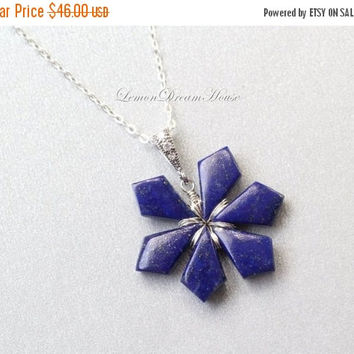 10%OFF Gemstone Snowflake Necklace, Lapis Smooth Tilak Briolettes, Sterling Silver Chain, Bail with CZ, Wire Wrapped Snowflake. Holiday Gift