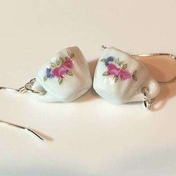 Marianne Porcelain Tea Cup (Teacup) Earrings