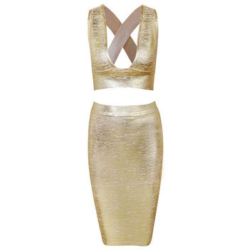 Women's Fashion Set Hollow Out Vest High Rise Skirt Bottom & Top Bandages Prom Dress [4919741124]