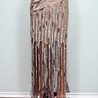 1920's Nude Sequined Beaded Dress // Great Gatsby Embellished Flapper Dress // Iridescent Champagne Beaded Sequin Gown Small