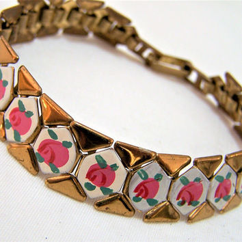 Painted Enamel Pink Rose Bracelet, Gold Tone Link, Floral Design, Mid Century Vintage Jewelry, Costume Jewellery,  417s