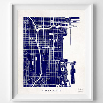 Chicago, Illinois, Street Map, World, State, Town, Print, Nursery, Art, Cute, Pretty, Living Room, Poster, Wall Decor, Illustration [NO 486]