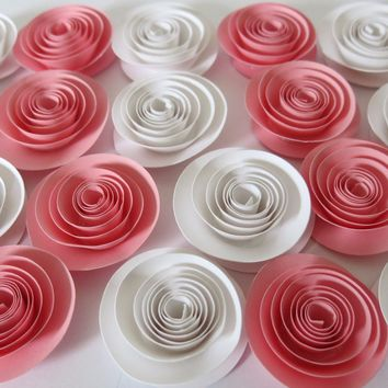Pink and white flower decorations, 24 girly paper roses, Posh baby shower table centerpiece, Party take away favor, sweetest day gift 1.5""