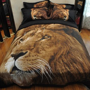Patchwork quilt 3D comforter set ( 1PC comforter + 2 pillowcase) wolf, leopard quilts, purple horse bedspead, lion, rose duvets