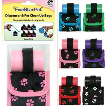 Five Star Pets Dog Walk Waste Bag Dispenser Holder Green Paw Prints