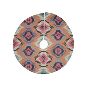 "Amanda Lane ""Southwestern Dreams"" Orange Pink Tree Skirt"