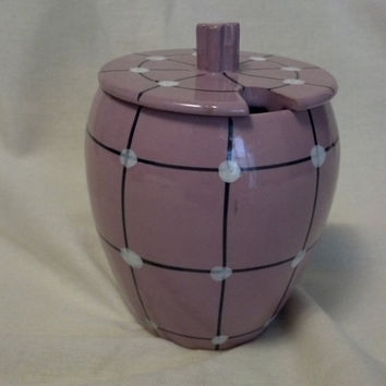 Pink Italian Pottery Jam Jar Honey Pot Sugar Bowl Container Retro