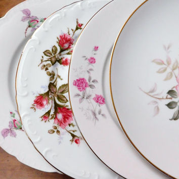 """Mismatched China Dinner Plates Pink Floral Mid Century 10"""" Set of 4"""