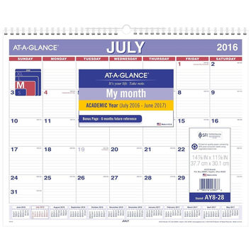"AT-A-GLANCE Academic Year Monthly Wall Calendar July 2016 - June 2017 14-7/8""..."