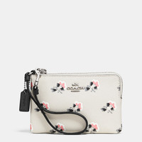 CORNER ZIP WRISTLET IN PRINTED CROSSGRAIN LEATHER