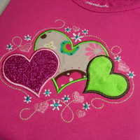 Triple Hearts Girls Applique Toddler Shirt