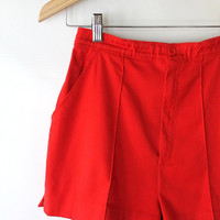 Vintage 70s Red High Waisted Micro Hot Shorts // Women's Stretch Shorts