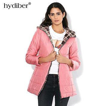 New Brand 2017 Winter Jacket Women Long Hooded Parka Plaid Fabric Interlining Slim Cotton-Padded Candy Color Cotton Jacket Coat