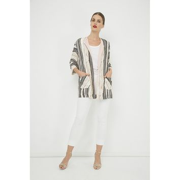 Black And White Sleeves Open Front Cardigan