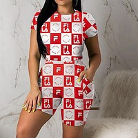 FILA Newest Popular Women Casual Plaid Letter Print Short Sleeve Top Shorts Two-Piece Set Sportswear Red
