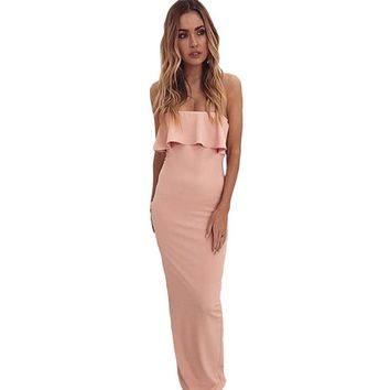 Long Maxi Summer Dress For Women 2018 Off Shoulder Ladies Bodycon Beach Dress Ruffle Robe Femme Backless Beach Dress Vestido