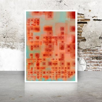 Burnt Orange and Teal Green Abstract Generative Art. Dividing Bubbles and Boxes Giclee print, geeky wall art Limited Edition  growthBoxes_9i