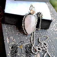 crystal protection, Anxiety,Protection,Unique, Rose Quartz, morganite,metal ball chain,gun,necklace,anxiety, crystal healing, protection