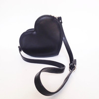 Black Cross Body Heart Bag, vegan