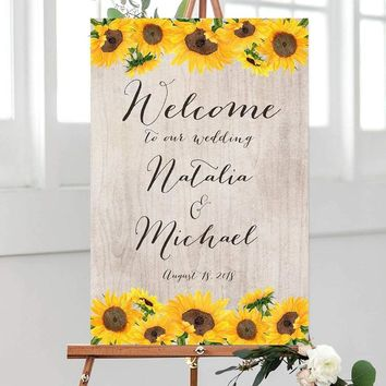 Sunflower Wedding Welcome Sign, Rustic Welcome Wedding Sign, Sunflower Wedding Sign