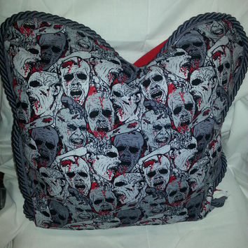 Decrative Pillow Charcoal/Red Zombie Pillow