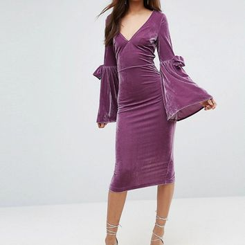 ASOS TALL Velvet Flute Sleeve Midi Dress at asos.com
