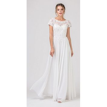 Off White Short Sleeves Applique Bodice A-Line Long Formal Dress