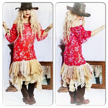 Festival Red tunic dress, boho spring floral tunic, Gypsy spell