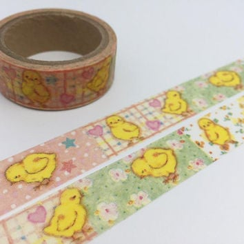yellow Chick Washi Tape 5M Baby chick Easter Chick Sticker Tape chicken Farm animal Japanese Masking tape removable adhesive tape diary gift