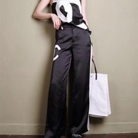 """Chanel"" Women Casual Fashion Letter Sleeveless V-Neck Vest Tops Multicolor Wide Leg Pants Trousers Set Two-Piece"