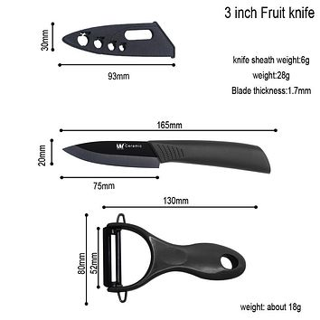 XYJ Creamic Kitchen Knife Black Acrylic Holder + 3, 4,5 Inch Paring Utility Slicing Black Ceramic Knife And Peeler Kitchen Tools