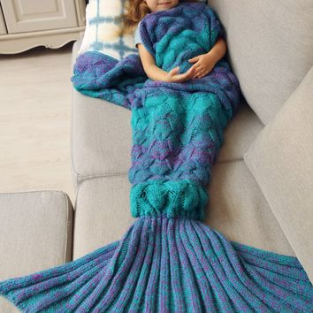 Knitted Fish Scales Mermaid Blanket For Kids