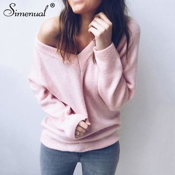 Simenual V neck women sweaters and pullovers knitted winter clothing solid basic slim pullover female jumper sweater lady