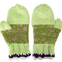 Green mittens, olive and mint green, wool mittens, gift idea, hand knit
