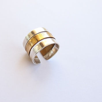 Sterling silver ring, silver and brass band, ring band handmade, adjustable ring, women's jewelry