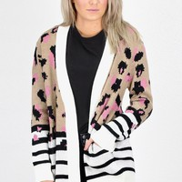 Love of Leopard + Stripes Mix Cardigan {Tan/Blush}