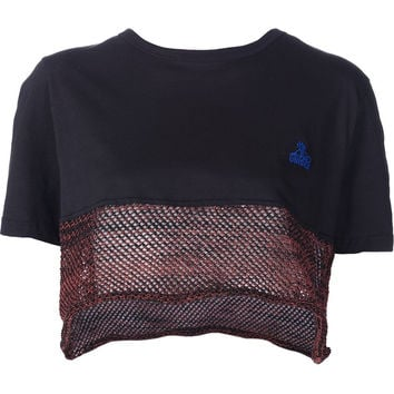 Cropped T-Shirt in Black and Red