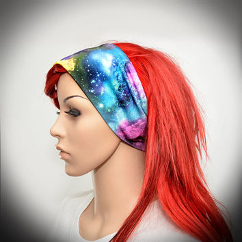 WIDE Stretchy headband with colorful galaxy, stars, planets and space print
